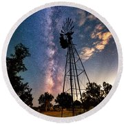 Utah Windmill And Milky Way Round Beach Towel