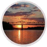 Utica Bridge At Sunset Round Beach Towel