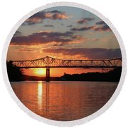 Utica Bridge Sunset Round Beach Towel