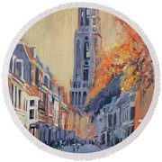 Round Beach Towel featuring the painting Utrecht Dom Tower by Nop Briex