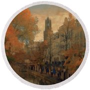 Round Beach Towel featuring the painting Utrecht In Autumn by Nop Briex