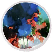 Round Beach Towel featuring the painting uu by Chris Gholson