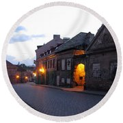 Uzupis Street. Old Vilnius. Lithuania. Round Beach Towel
