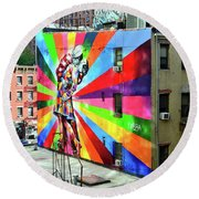 V - J Day Mural By Eduardo Kobra # 2 Round Beach Towel