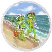 Vacation Beach Frog Girls Round Beach Towel
