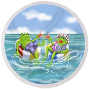 Vacation Happy Frog Couple Round Beach Towel
