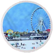 Vacation Round Beach Towel by Kathy Bassett