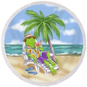 Vacation Relaxing Frog Round Beach Towel