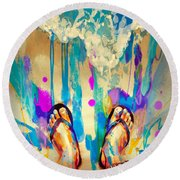 Round Beach Towel featuring the painting Vacation Time by Tithi Luadthong