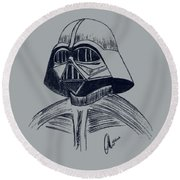 Round Beach Towel featuring the drawing Vader Sketch by Chris Thomas