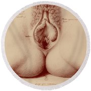 Round Beach Towel featuring the painting Vagina-5 by Jean Jacques Lequeu