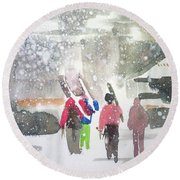 Round Beach Towel featuring the painting Vail,colorado  by Ed Heaton