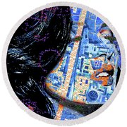 Round Beach Towel featuring the mixed media Vain by Tony Rubino