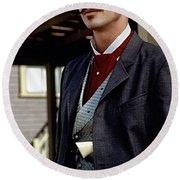 Val Kilmer As Doc Holliday Tombstone Set 1993-2015 Round Beach Towel