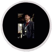 Val Kilmer As Doc Holliday Tombstone Set 1993-2015 Round Beach Towel
