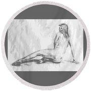 Valentina... Round Beach Towel by Edgar Torres