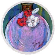 Round Beach Towel featuring the painting Valentina by P J Lewis