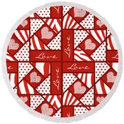 Valentine 4 Square Quilt Block Round Beach Towel