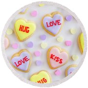 Round Beach Towel featuring the photograph Valentine Heart Cookies by Teri Virbickis