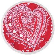 Valentine Heart Round Beach Towel