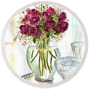 Valentines Crystal Rose Round Beach Towel