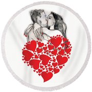 Valentine's Kiss - Valentine's Day Round Beach Towel