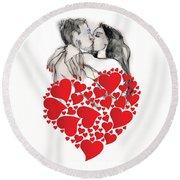 Valentine's Kiss - Valentine's Day Round Beach Towel by Carolyn Weltman