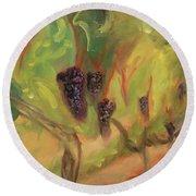 Round Beach Towel featuring the painting Valhalla Vineyard by Donna Tuten