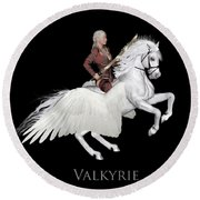 Round Beach Towel featuring the painting Valkyrie by Valerie Anne Kelly