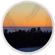 Valley Fog Sunset Round Beach Towel