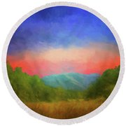Valley In The Cove Round Beach Towel