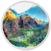 Valley Of Colours. Round Beach Towel