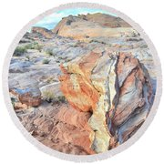 Valley Of Fire Alien Boulder Round Beach Towel by Ray Mathis