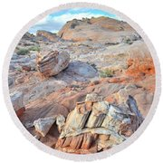 Valley Of Fire Boulders Round Beach Towel by Ray Mathis