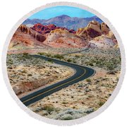 Road Through The Valley Of Fire Round Beach Towel