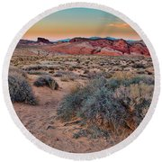 Valley Of Fire Sunset Round Beach Towel