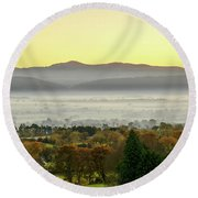 Valley Of Mist Round Beach Towel