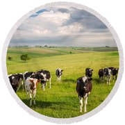 Valley Of The Cows Round Beach Towel