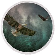 Valley Of The Eagles. Round Beach Towel