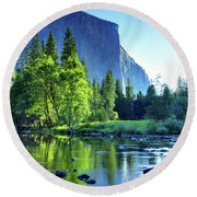 Valley View Morning Round Beach Towel