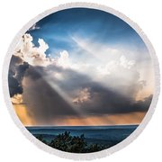 Round Beach Towel featuring the photograph Valley Views by Parker Cunningham