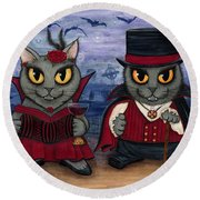 Vampire Cat Couple Round Beach Towel