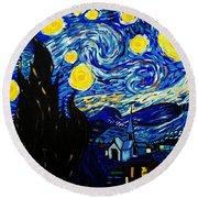 Van Gogh Starry Night  Round Beach Towel by Scott D Van Osdol