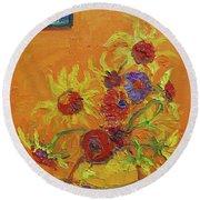 Van Gogh Starry Night Sunflowers Inspired Modern Impressionist Round Beach Towel