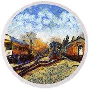 Van Gogh.s Train Station 7d11513 Round Beach Towel