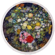 van Gogh's Vase          Round Beach Towel