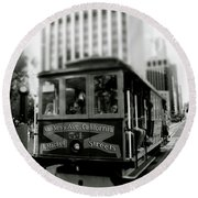 Van Ness And Market Cable Car- By Linda Woods Round Beach Towel