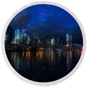 Vancouver At Dusk Round Beach Towel