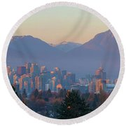 Vancouver Bc Downtown Cityscape At Sunset Panorama Round Beach Towel