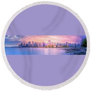 Vancouver Bc Skyline From Stanley Park Round Beach Towel